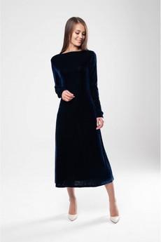 Темно-синее бархатное платье Marimay